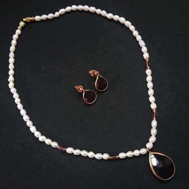 Purple Drop Style Beaded Necklace With Earrings For Girls / Women