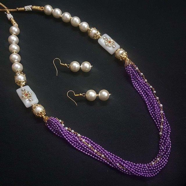 Purple Beaded Kundan Work Kantha Necklace Set For Girls With Adjustable Dori