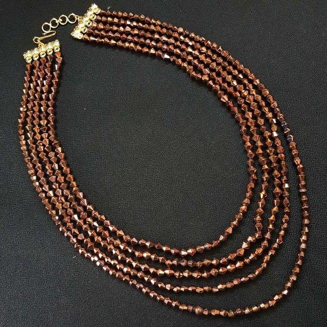 Tyre Cuttings Brown Beaded Layered Necklace For Girls / Women