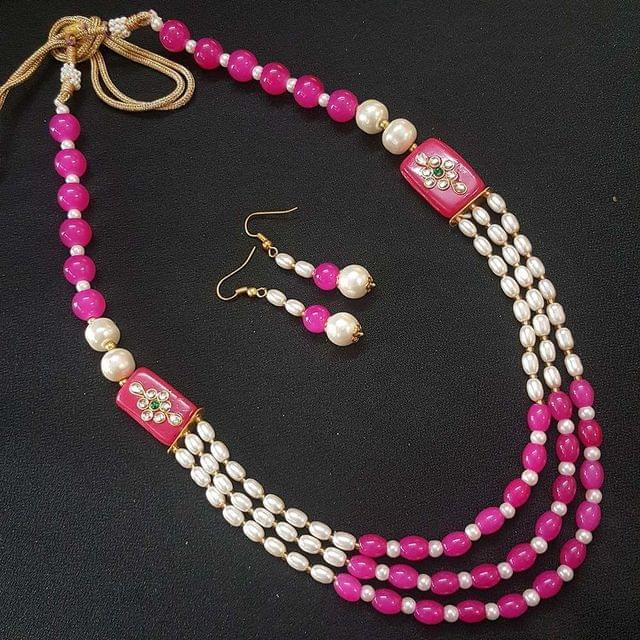 Pink Beaded With Kundan Work Kantha Necklace For Girls With Adjustable Dori