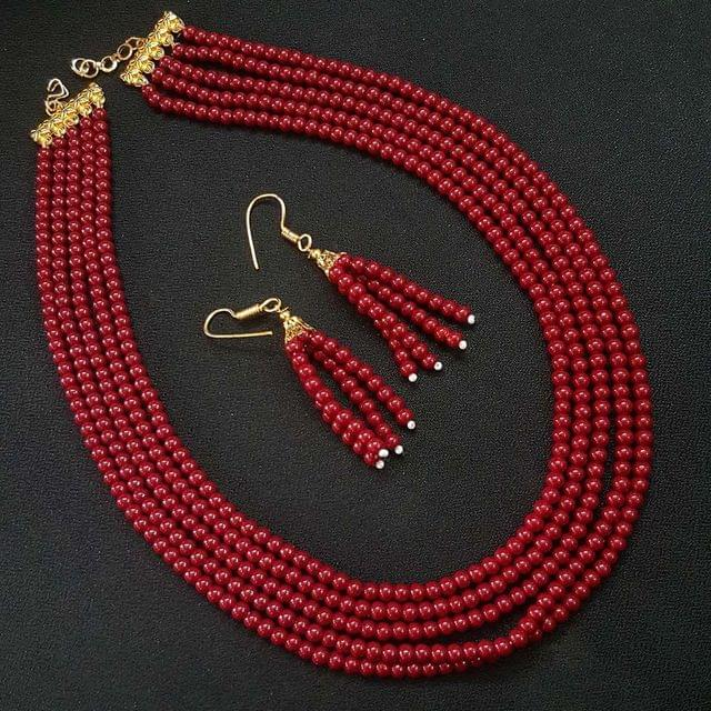 Red Small Beaded Five Layered Necklace With Earrings For Girls / Women