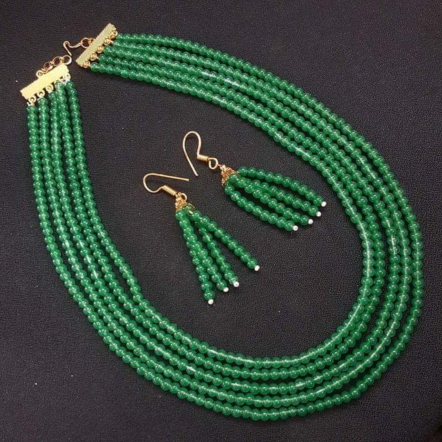 Behr Green Small Beaded Five Layered Necklace With Earrings For Girls / Women