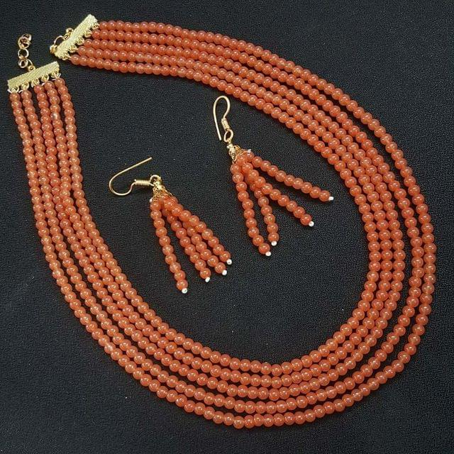 Apricot Orange Small Beaded Five Layered Necklace With Earrings For Girls / Women