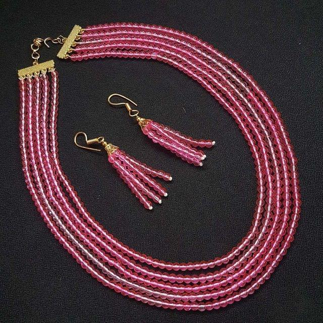 Pink Small Beaded Five Layered Necklace With Earrings For Girls / Women