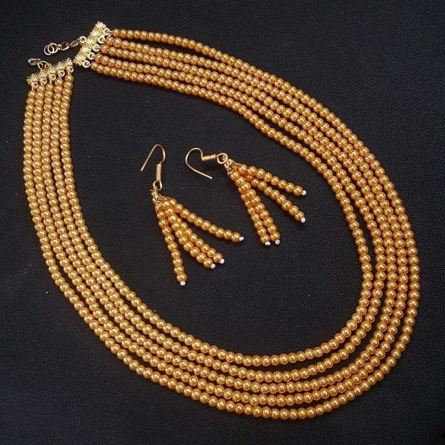 Metalic Yellow Small Beaded Five Layered Necklace With Earrings For Girls / Women