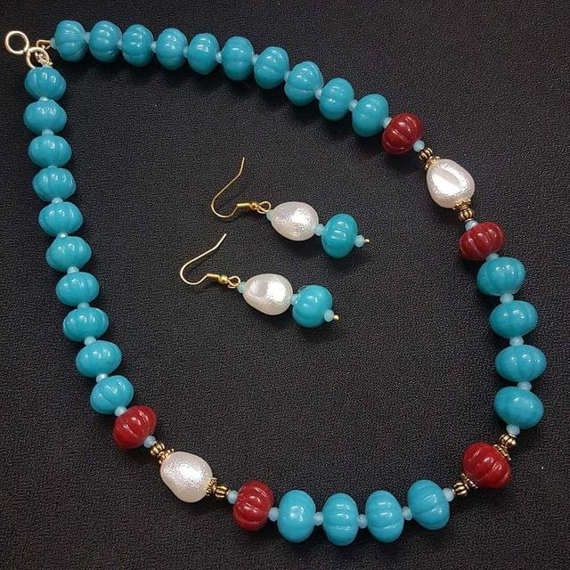 Firoza Kharbooja Beaded Necklace With Earrings For Girls / Women