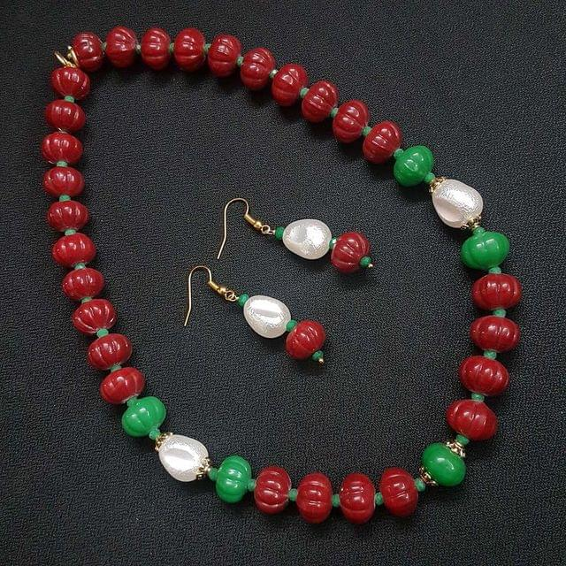 Maroon Kharbooja Beaded Necklace With Earrings For Girls / Women