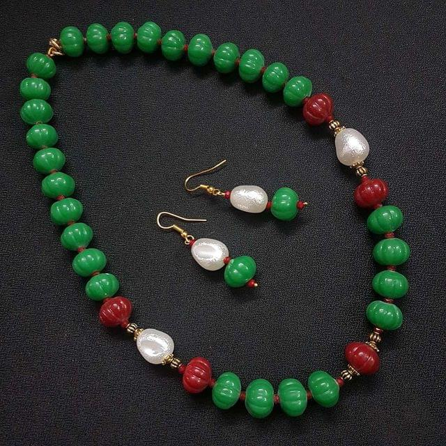 Green Kharbooja Beaded Necklace With Earrings For Girls / Women