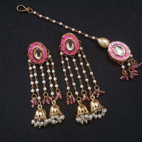 Pink Meenakari Pearl Beading Jhumki Earrings With Maang Tikka For Girls / Women