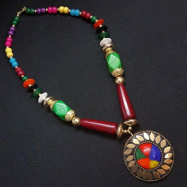 Round Tibetan Necklace With Multi Beads