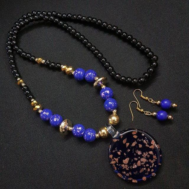 Blue Round Style Necklace With Multi Beads