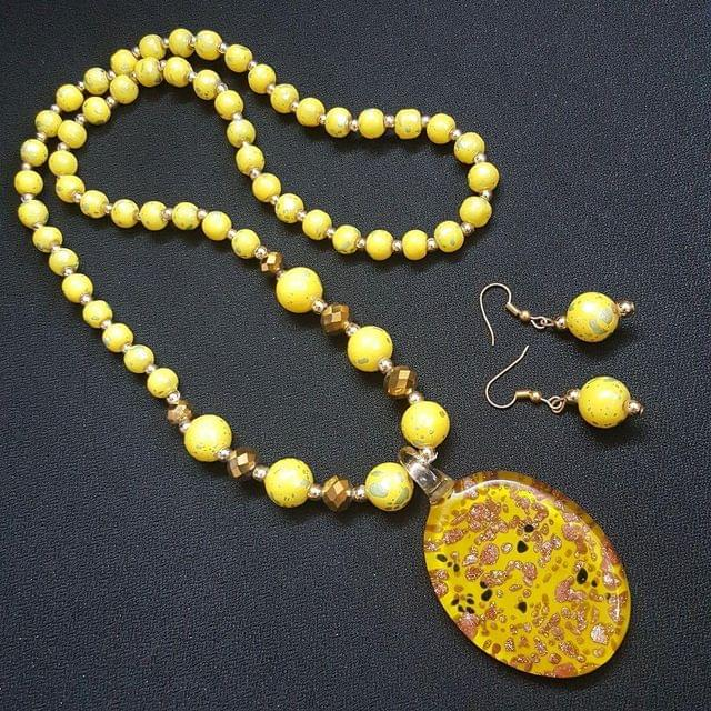 Yellow Oval Style Beaded Necklace