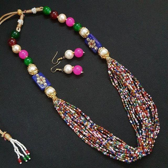 Multi Rajasthani Kantha Necklace With Adjustable Dori