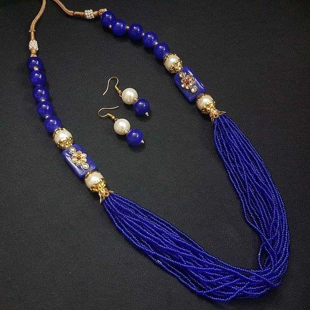 Blue Rakasthani Kantha Necklace With Adjustable Dori