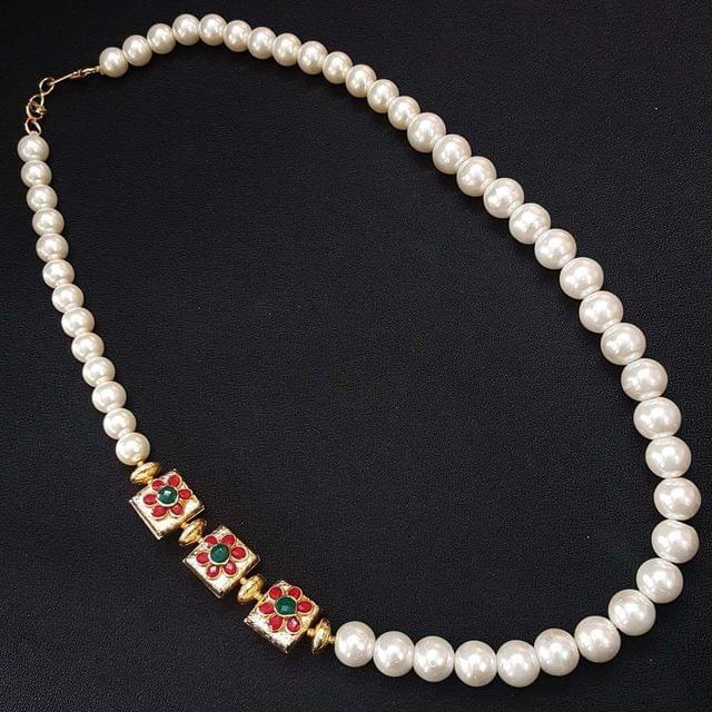 Kundan Work & Pearl Beaded Mala Necklace For Women / Girls