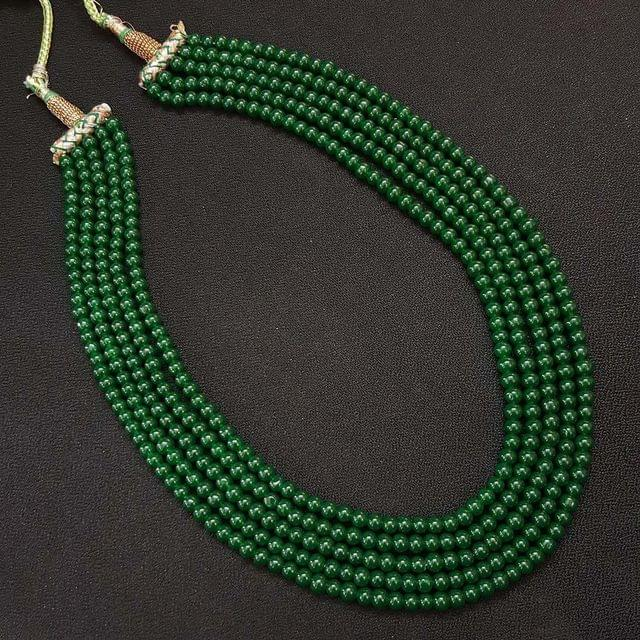 Five Line Green Beaded Mala necklace For Women / Girls With Adjustable Dori