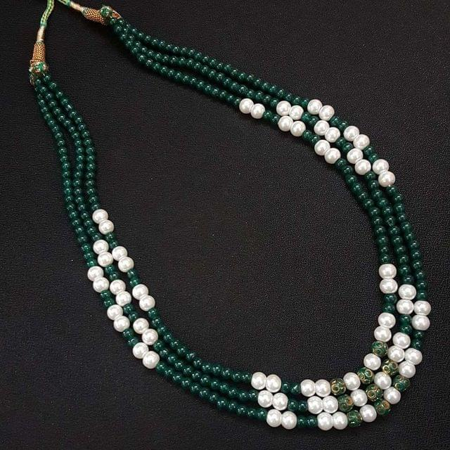 Three Line Pearl & Green Beaded Mala Necklace For Women / Girls