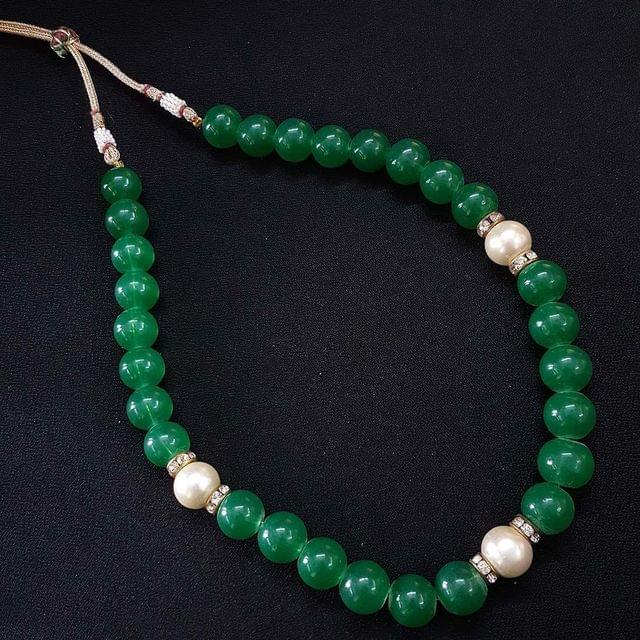 Green Beaded & Pearl Mala Neacklace For Girls / Women With Adjustable Dori