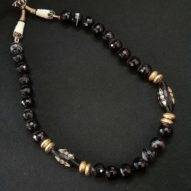 Black Beaded Mala Necklace For Girls / Women With Adjustable Dori