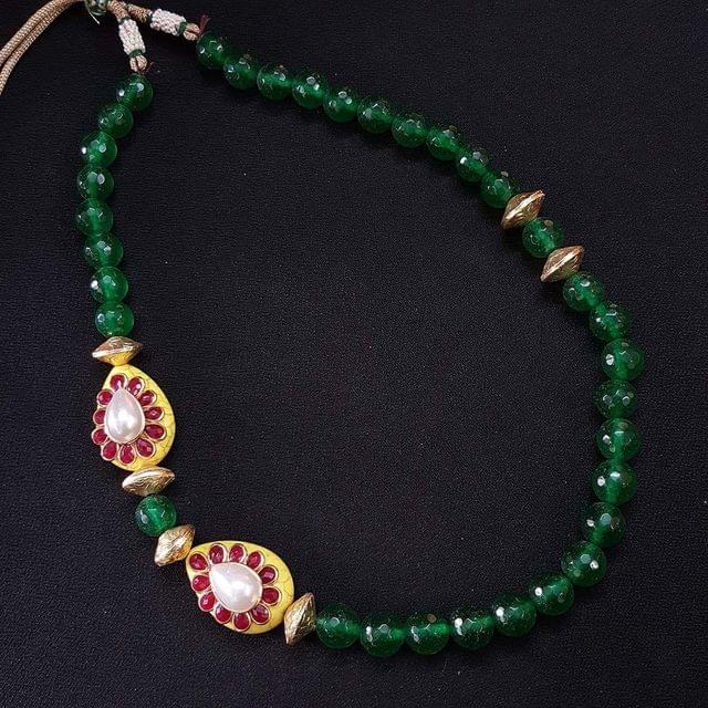 Green Beaded Mala Neacklace For Girls / Women With Adjustable Dori
