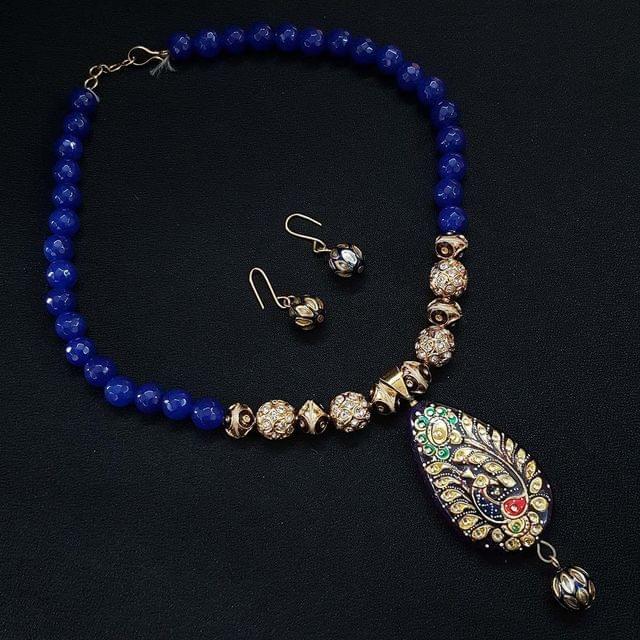 Blue Beaded Mala Necklace With Earrings For Girls & Women