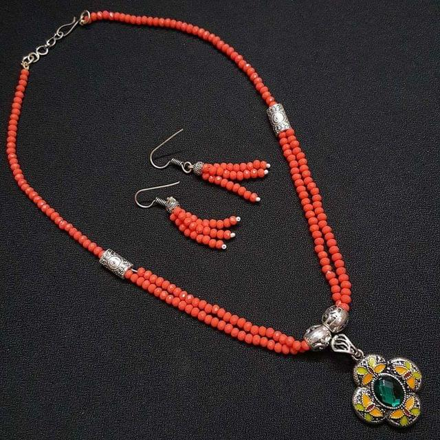 Floral Style Orange Beaded Necklace With Earrings For Girls / Women