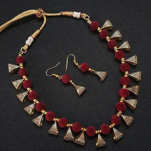 Gold Oxidised Maroon Beaded Necklace set For Girls / Women With Adjustable Dori