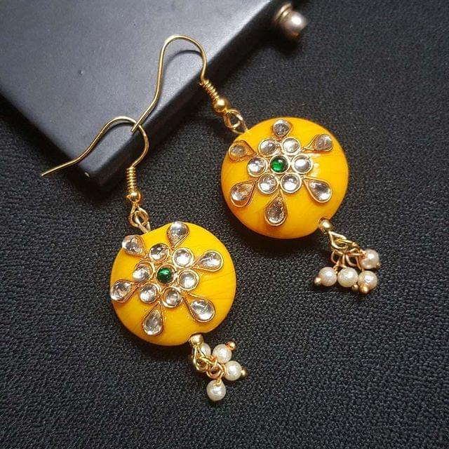Dark Yellow Round Kundan Work Drop Earrings For Girls / Women