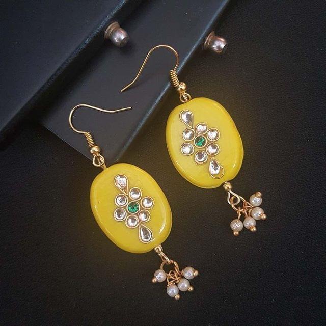 Yellow Oval Style Kundan Work Earrings For Girls / Women