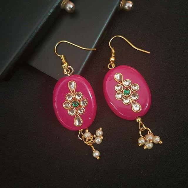 Pink Oval Style Kundan Work Earrings For Girls / Women