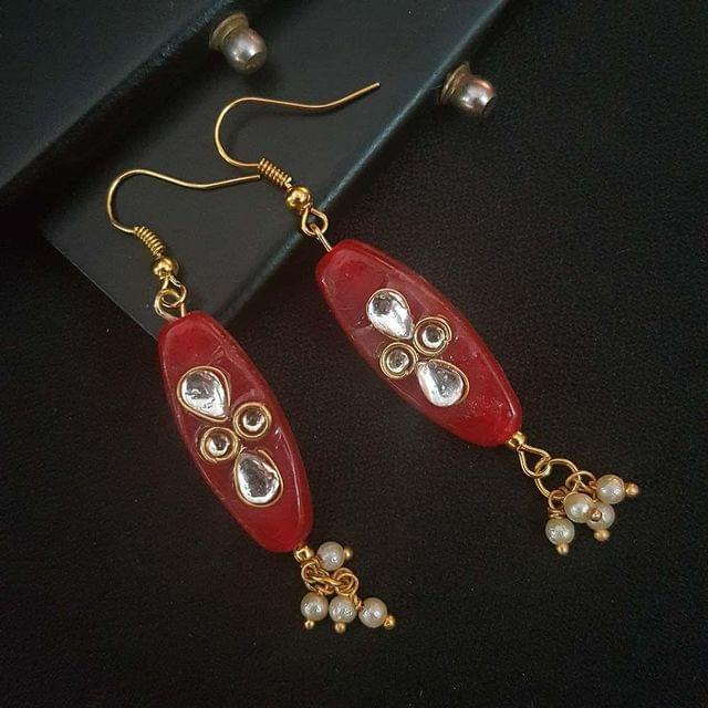 Red Oval Style Kundan Work Earrings For Girls / Women