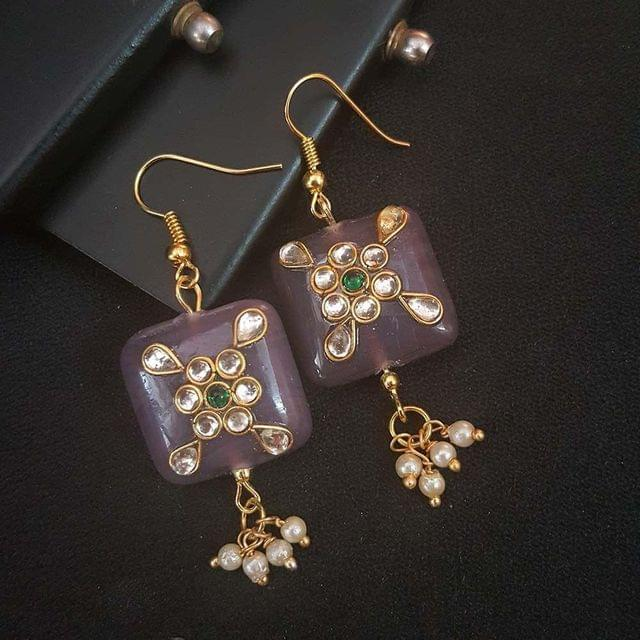 Purple Square Shape Kundan Work Earrings For Girls / Women