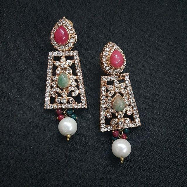 Designer Multi Stone Earrings For Girls / Women