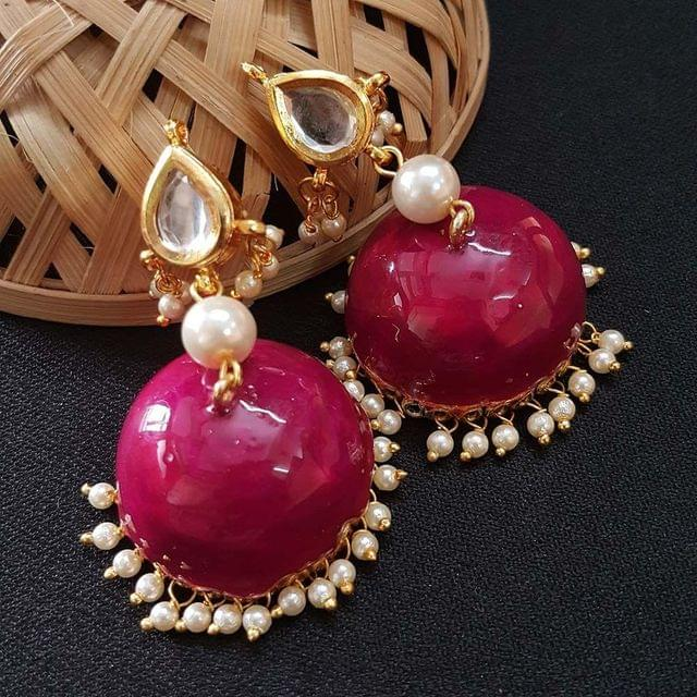 Kundan With Pearl Beading Magenta Meenakari Jumki Earrings For Girls / Women
