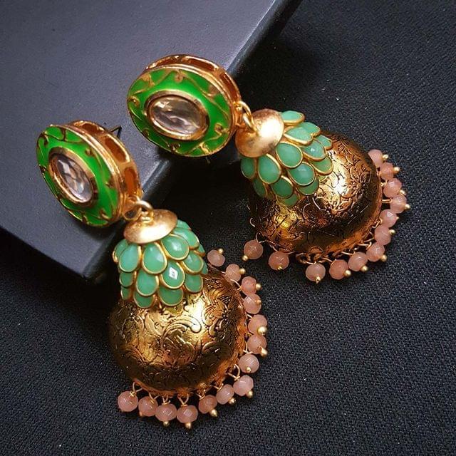 Green Kundan Meenakari Pachhi Antique Oxidised Jhumki Earrings for Girls