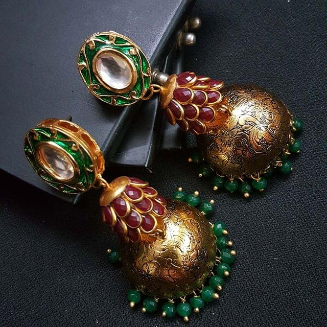 Green Kundan Meenakari Maroon Pachhi Antique Oxidised Jhumki Earrings for Girls