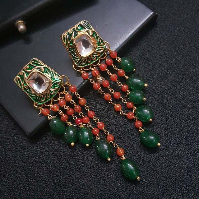Green Kundan Meenakari Red Pearl Beading Earrings For Girls / Women