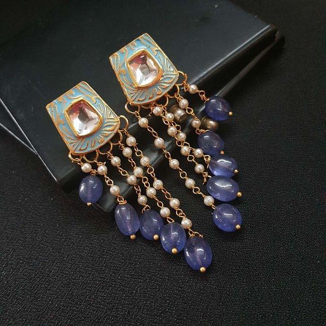 Blue Kundan Meenakari Pearl Beading Earrings For Girls / Women