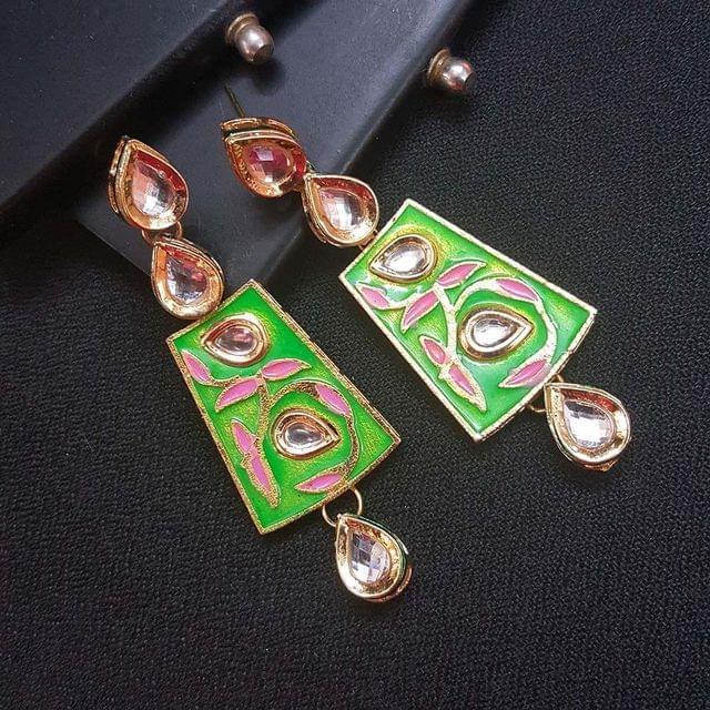 Green Kundan Meenakari Gold Plated Earrings For Women / Girls