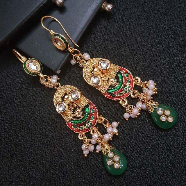 Green Kundan Meenakari Designer Long Earrings For Girls / Women