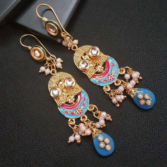 Blue Kundan Meenakari Designer Long Earrings For Girls / Women