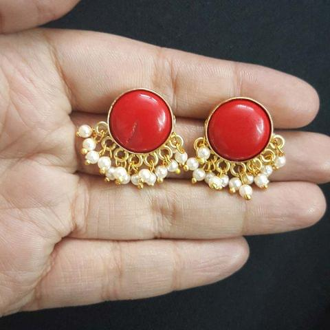 Red Round Style With Pearl Beading Stud Earrings For Girls / Women
