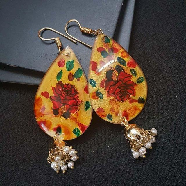 Drop Style Floral Earrings With Beaded Jhumki For Girls / Women