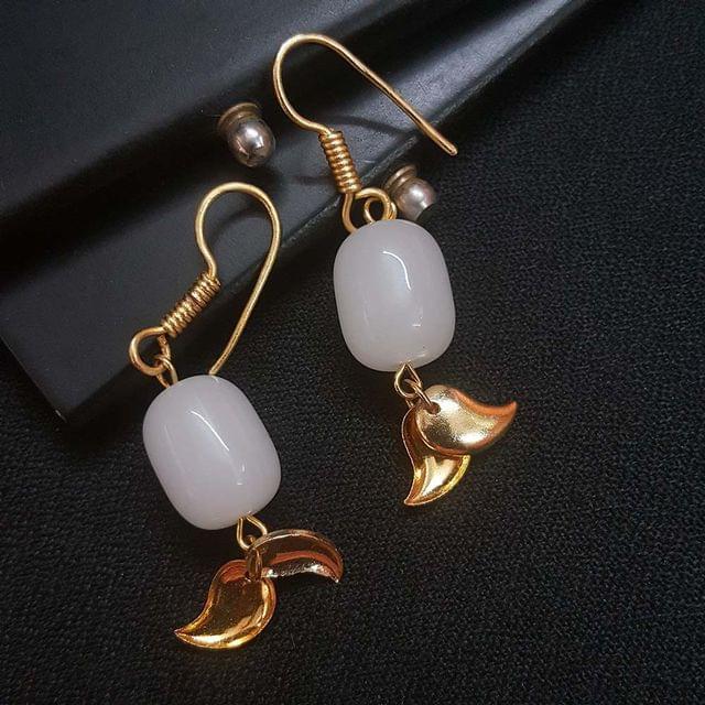 Fancy White Jade Stone Earrings For Girls / Women