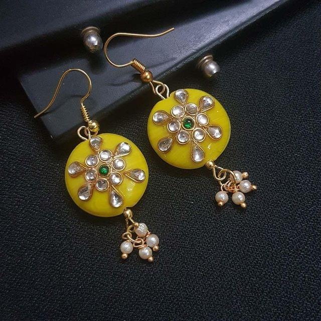Yellow Round Kundan Work Drop Earrings For Girls / Women