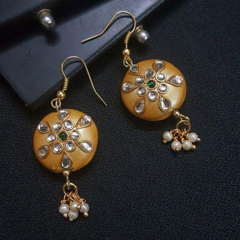 Golden Round Kundan Work Drop Earrings For Girls / Women