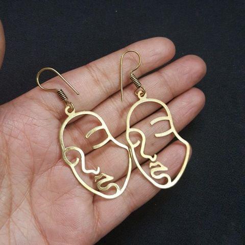 Antique Gold Polish Face Earrings