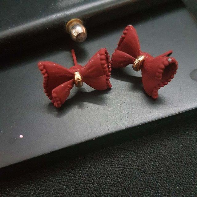 Maroon Bow Stud Small Earrings