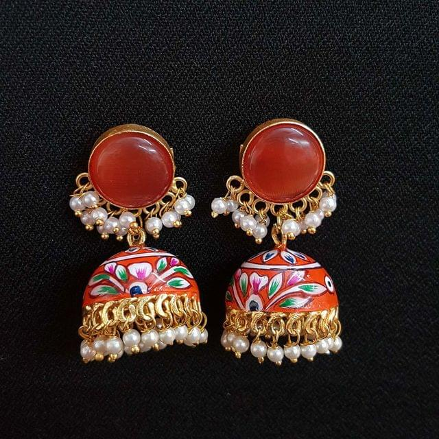 Orange Painting Jhumki Earrings With Pearl Beading