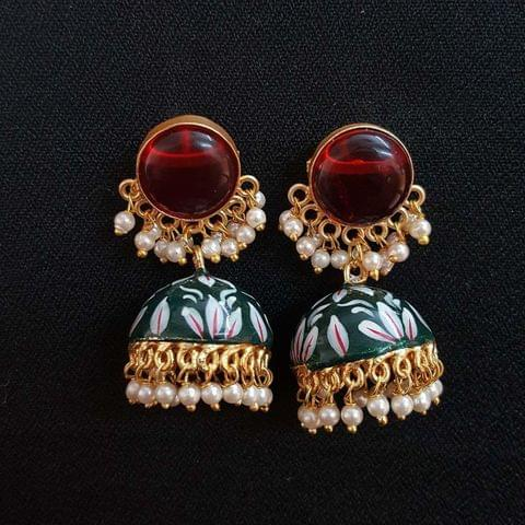 Red Painting Jhumki Earrings With Pearl Beading